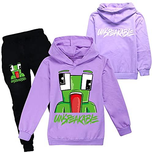 Ensemble de sweats à capuche et pantalon unisexe pour enfants, violet, 3-4 ans