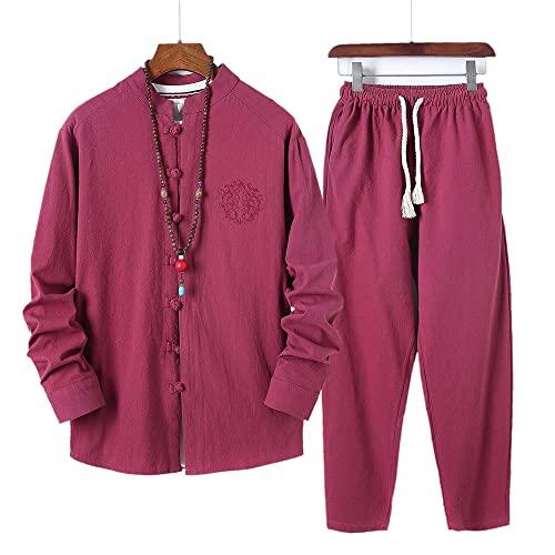 jadlahf Traje Tang Para Hombre, Traje Tradicional Chino Hanfu, Camisa De Kung Fu, Uniforme, Camiseta Y Pantalones De Manga Larga (Red wine,2XL)