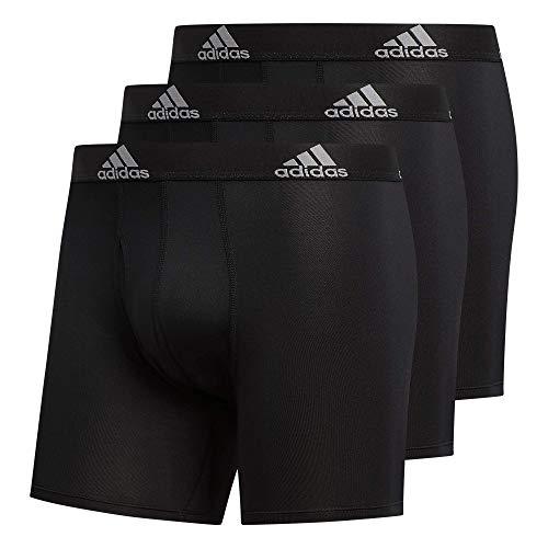 adidas Men's Performance Boxer Brief Underwear (3-Pack) Boxed, Black/Light Onix Grey, Large