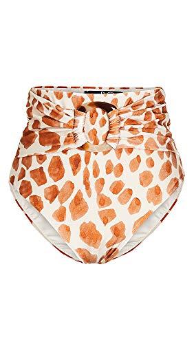 PatBO Women's Margot High Waist Bikini Bottoms, Cream, Off White, Print, Medium