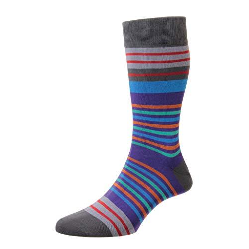 Pantherella Herren 835479 Swift Mehrfachstreifen Baumwolle Socken Packung mit 1 Dunkelgrau 44-46