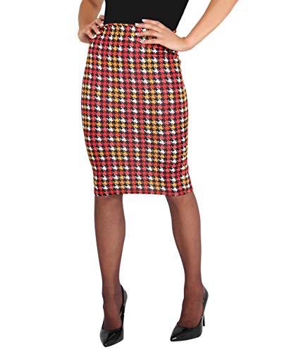 KRISP Falda Mujer Elegante Lápiz Tubo Rodilla Estampado Cóctel Tallas Grandes Fiesta Uniforme Ajustada, (Rojo (2702), 36 EU (08 UK)), 2702-DGT-08