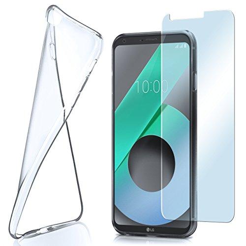 moex Aero Hülle mit Panzerglas für LG Q6 - Hülle mit Schutzfolie, transparent - Crystal Clear
