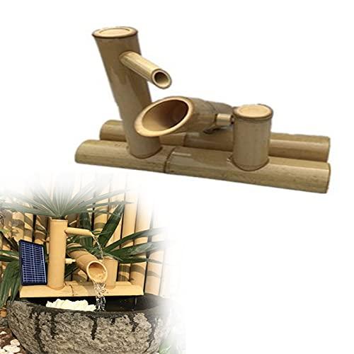 YAHAO Fontana Solare Fontana di bambù da Bagno per Uccelli,Dispositivo di Acqua Jinglu di bambù in Stile Giapponese Che Scorre Acqua Decorazione Cortile Design,35cm