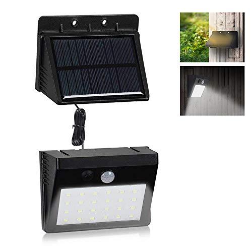 VARICART Solar 6W 30 LED Lampada da Parete Separabile, Esterno Impermeabile Pannello con Sensore di Movimento PIR, 3 Modalità di Illuminazione per Giardino Garage Seminterrato Capannone (Pacco da 2)