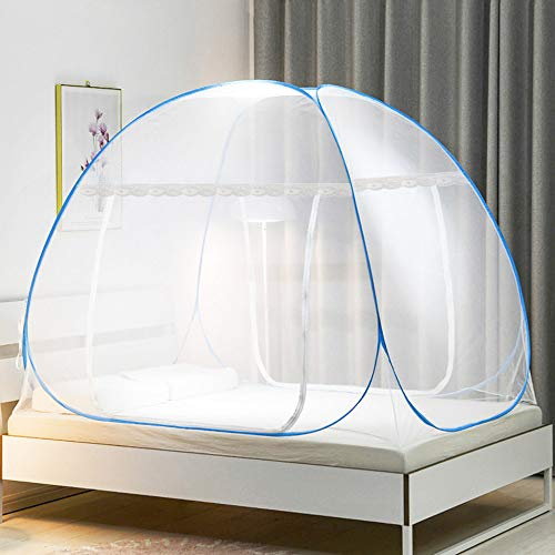 BUZIFU Pop Up Moskitonetz Faltbare Mückennetz Doppelter Eingang Reise Insektennetz Großes Mückennetz Zelt Camping Netz mit Unterseite für doppelbett, Bett Baldachin, Insektenschutz (200*180*150 cm)