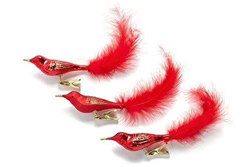 Glas-Vogel Christbaumschmuck mit Clip - Vögel mit Ornament und Federschwanz - Weihnachtsdeko - 3er-Set, Rot