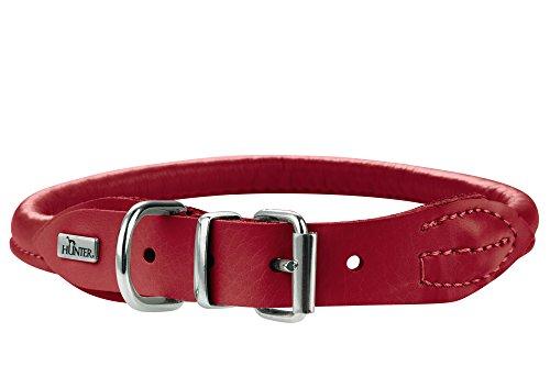 HUNTER ROUND & SOFT ELK Hundehalsband, Leder, weich, rund, fellschonend, 55 (M-L), chili