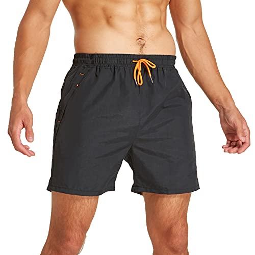 JustSun Badeshorts Herren Badehose Männer Schwimmhose Herren Sommer Schnelltrocknend Boardshorts Beach Shorts mit Kordel Schwarz L