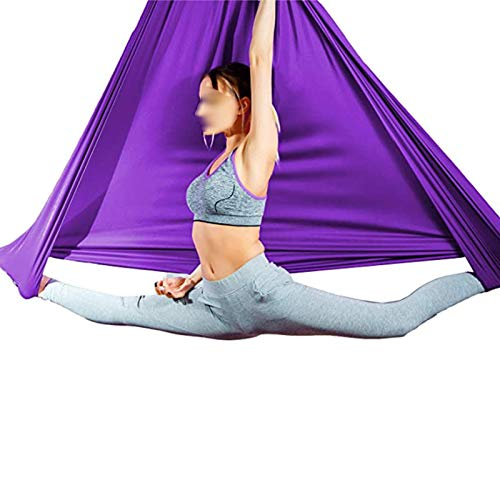 YXYH Aerial Yoga Hammock Silk Swing for Antigravity Yoga Inversion Exercises Improve Flexibility Core Strength Extension Straps (Color : Purple, Size : 150x280cm)