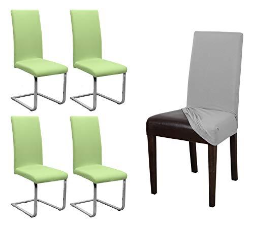 BEAUTEX 4er Set Jersey Stuhlhusse, elastische Stretch Husse Baumwolle Bi-Elastic, Farbe wählbar (Hellgruen)