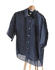 [フォーワンセブン エディフィス]Blue Linen レギュラーハーフスリーブシャツ