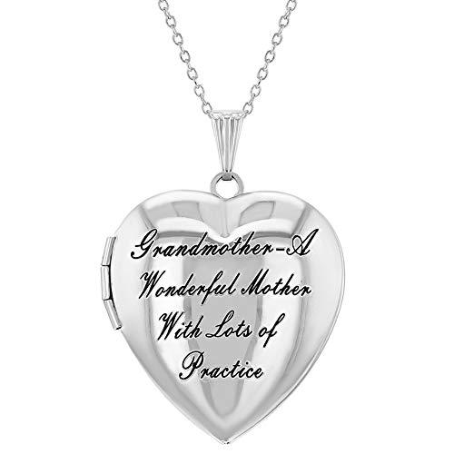 Collana con medaglione a forma di cuore, con scritta in inglese
