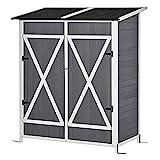 outsunny casetta da giardino porta utensili, doppia porta con blocco e tavolo rimovibile, legno, 139x75x160cm, grigio