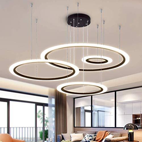 QUETAZHI- 4 dimmbare LED-Lampen-Schwarz-Leuchter-Kreisring-Leuchter-hängende Höhenverstellbarer Bar for Küchentisch, mit Fernbedienung, 30 + 50 + 70 + 90CM 100W QU415 (Color : 40+60+80+100cm~120w)