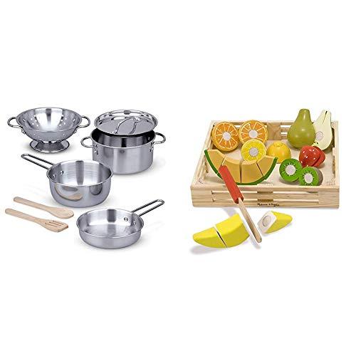 Melissa & Doug Stainless Steel Pots & Pans Play Set & Cutting Fruit