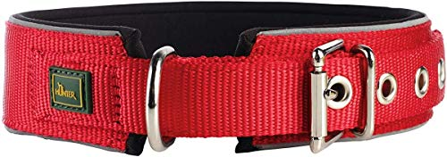 HUNTER NEOPREN REFLECT Hundehalsband, Nylon, Neopren gepolstert, reflektierend, 60 (L), rot/schwarz