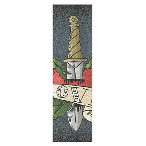 Vintage Espada Corazón Amor Monopatín Papel de Lija Antideslizante Hoja Cinta de Agarre Lijas para Patineta Scooter Etiquetas engomadas (84 x 23 cm)