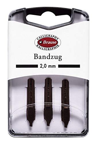 Brause 318020B Packung mit 3 Bandzugfeder,  2 mm,  ideal für gotische Buchstaben,  ideal für die Kalligraphie,  1 Pack