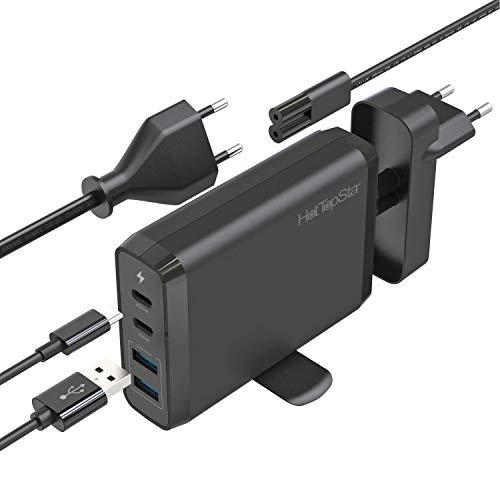 HotTopStar Cargador adaptador de 4 puertos compatible con MacBook Pro, MacBook Air 2018, iPhone 11 Plus Max / 11 Plus y 11 Plus (75W, 4 puertos USB 3.0, USB dual C 60W / 18W y 5V / 2.4A)