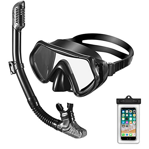 Hairuo Snorkel Set for Adult and Youth, Anti-Leak Snorkel Mask with Nose Pocket, Anti-Fog Scuba Diving Mask with Flexible Dry-Top Snorkel, Free Breathing Snorkeling Gear with Waterproof Phone Pouch