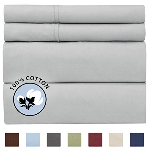 100% Cotton Queen Sheets Light Grey (4pc) Silky Smooth, Cooling 400 Thread Count Long Staple Combed Cotton Queen Sheet Set – 400TC High Thread Count Queen Sheets - Queen Bed Sheets All Cotton