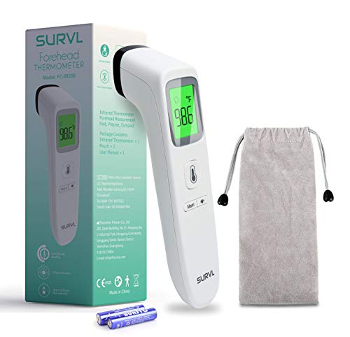 SURVL Forehead Thermometer for Fever, Digital Infrared Thermometer for Baby, Kids and Adults, Non-Contact Temporal Thermometer with Instant Accurate Reading, Fever Alarm and Memory Function