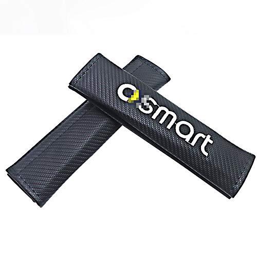JTAccord Black Carbon Fiber Cloth Autositzgurtpolster Schulter für Smart 451 Brabus Smart 453 Fortwo Forfour, Sicherheitsgurt Schulterschutz, Auto Zubehör, 2 Stück/Set