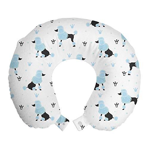 ABAKUHAUS Poedel Reiskussen, Crowns Hand Getrokken pluizige hond, Reisaccessoire met Geheugenschuim voor Vliegtuig en Auto, 30 cm x 30 cm, Pale Blue White