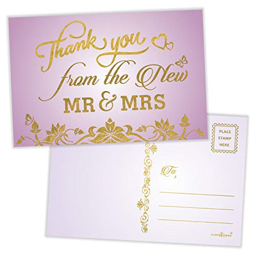 """Thank You from the New Mr. and Mrs. Postcards (Pack of 50) Gold Foil Stamping with Mailing Side 4""""x6"""" Mailable Wedding Thank You Cards - Purple"""