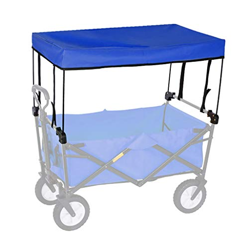 GWXTC Carrito Plegable Carro para Picnic Plegable al Aire Libre la Mano Carro de Empuje portátil Cesta Accesorios - toldo del pabellón (Color : Blue)