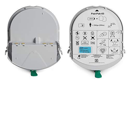 MedX5 PAD-PAK Batterie-und Elektrodenkassette, kombinierte Langzeitbatterie- und Elektrodenkassette für Erwachsene und Kinder > 8 Jahre oder > 25 kg.
