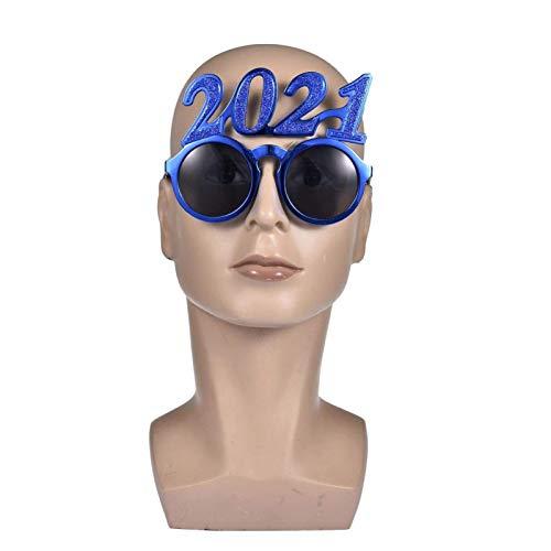 PHLPS 2021 Gafas de Fiesta Gafas Año Nuevo, Gafas de Sol Divertidas Gafas de año Nuevo, para Disfraces de Fotos Festival Festival Fiesta Favores de Navidad Favores Suministros (Color : Azul)