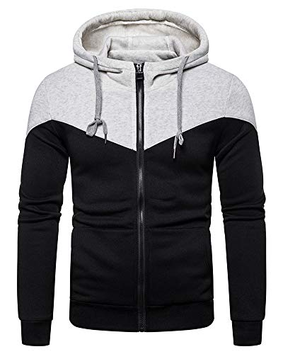 lexiart Mens Fashion Zipper Hoodie Pullover - Casual Sweatshirt Sport Jackets Grey S