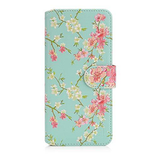32nd Blumen Series 2.0 - PU Leder-Mappen-Hülle Hülle Cover für Motorola Moto E6 Play, Blumendesign hüllen Entwurf gemacht Mit Kartensteckplatz & Magnetverschluss - Frühlings-Blau