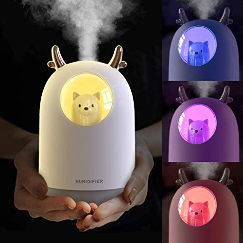 Mini Humidificadores Ultrasónicos con Fuente de Alimentación USB, Humidificador, Ambientador Humidificador, Ambientador Casa, Cute Pet Cool Mist Difusor Color Romántico LED Lámpara