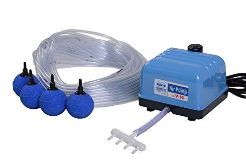 AquaForte Original Set de Pompe à air Hailea V10, 4L/Min à 1,2 m, avec 4 Pierres et 25 m Tuyau 4/6