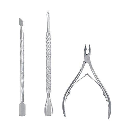 Cuticole Pusher - Delaman Metal Double End Dead Skin Remover Cutter Cucchiaio Nipper Manicure Pedicure Cleaner Care Tool Set