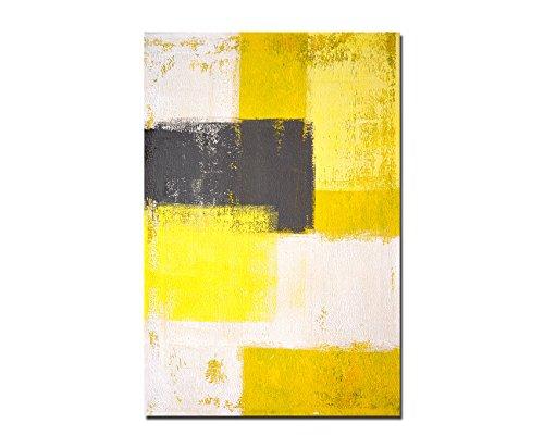 Augenblicke Wandbilder 120x80cm - Fotodruck auf Leinwand und Rahmen Malerei gelb grau abstrakt - Leinwandbild auf Keilrahmen modern stilvoll - Bilder und Dekoration