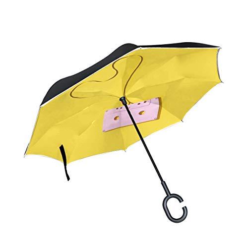 Liebe Herz Kassette Doppelschicht Falten Anti Uv Schutz Winddicht Regen Gerade Autos Golf Reverse Inverted Umbrella Stand Mit C förmigen Griff
