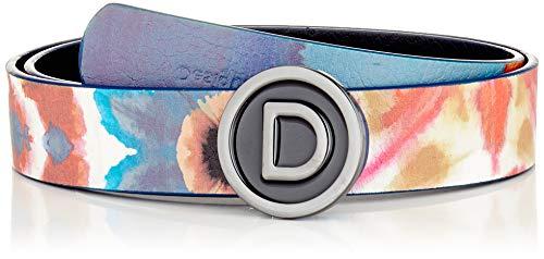 Desigual Belt_Skyline Reversible Cintura, Blue, 85 Donna