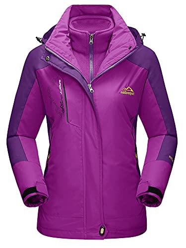 Winter Jackets Women Waterproof Fleece Jacket 3 in 1 Systems Climbing Skateboard Thick Soft Shell Coat Lady Casual Outdoor Sports Hoodie Purple