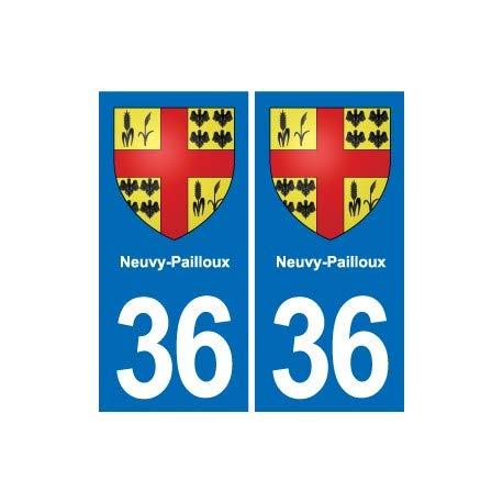 36 Neuvy-deurmat met wapen van de stad, zelfklevend. Angles: droits