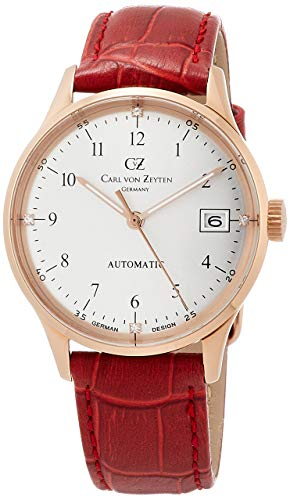 Carl von Zeyten Damen Analog Automatik Uhr mit Leder Armband CVZ0016RSL