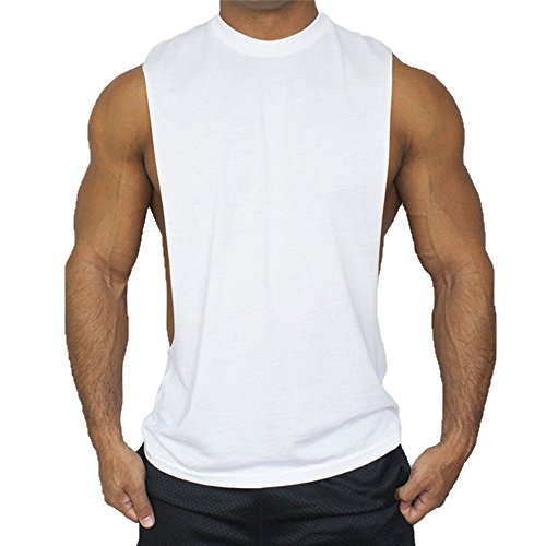 Hippolo Gym Herren Tank Top Men Cotton Stringer Fitness Gym Shirt Solide Sport Vest (L, Weiß)