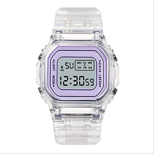 QWYU Relojes de oro Mujeres Reloj Digital Led Electrónico Reloj Luminoso Reloj Señoras Montre Femme Reloj Mujer Púrpura