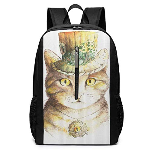 TRFashion Sac à Dos Spiritual Cat with Hat and Occult Eye Collar Laptop Backpack 17 inches Travel Gym Bag Yoga Bag School Bag Book Bag for Men Women Teenagers
