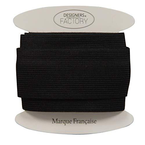 designers-factory Ruban élastique Noir côtelé de qualité, Largeur 40mm - Elastique Large Couture - Elastique Couture 4cm (par 2 mètres)