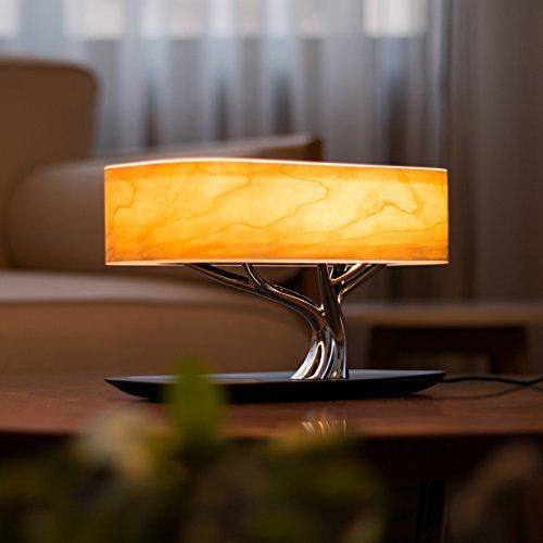 Nachttischlampe \'Tree of Light\' mit integriertem Lautsprecher und Kabelloser induktiver Ladestation/Ladegerät, Stufenlos Touch Dimmbar für Wohnzimmer, Schlafzimmer, Arbeitszimmer