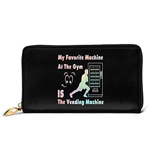 DJNGN Mi máquina Favorita en el Gimnasio es la Billetera de Cuero de la máquina expendedora con 12 Ranuras para Tarjetas Moda y personalización